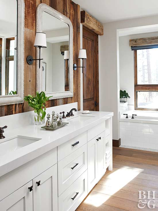 white bathroom with wood-plank wall