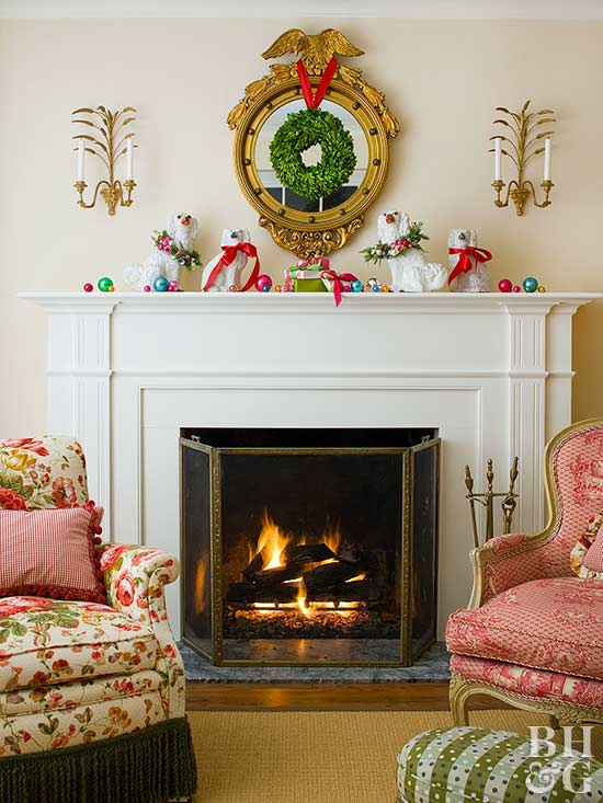 holiday mantel decor with dogs