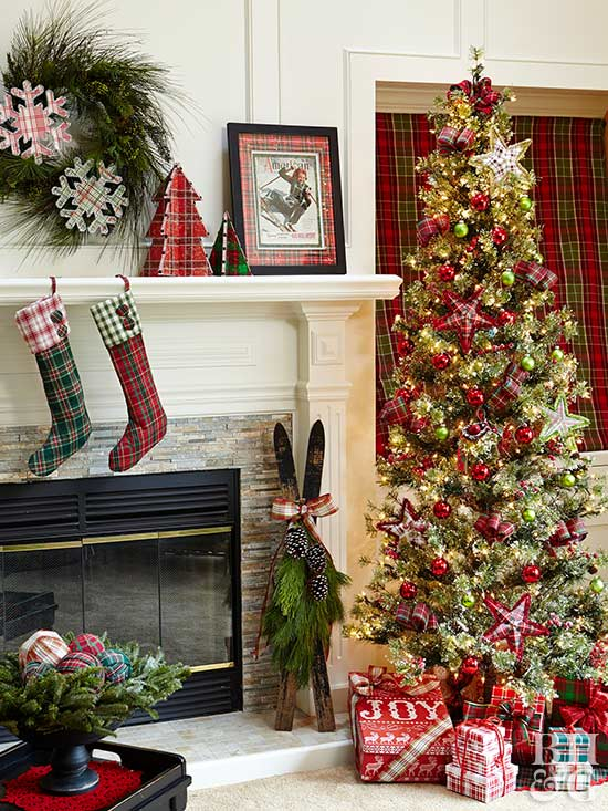 country christmas decor with plaid stockings