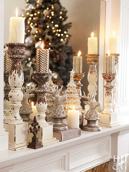 various candles on mantel