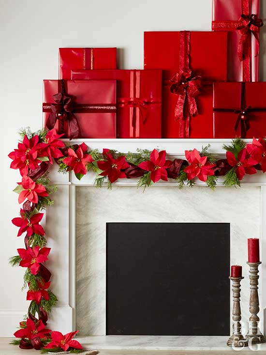 Wrapped Gifts Mantel
