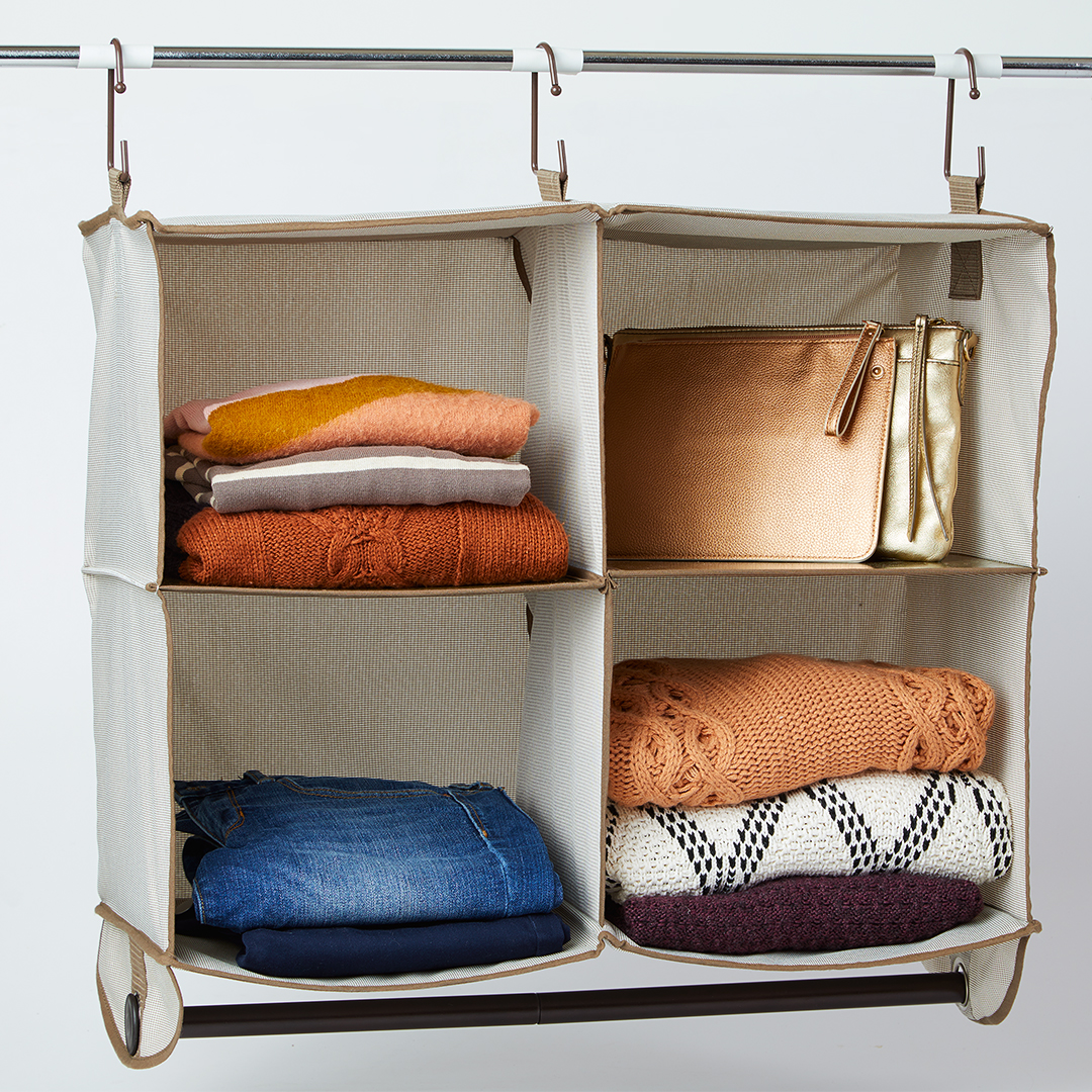 four pocked hanging clothing organizer
