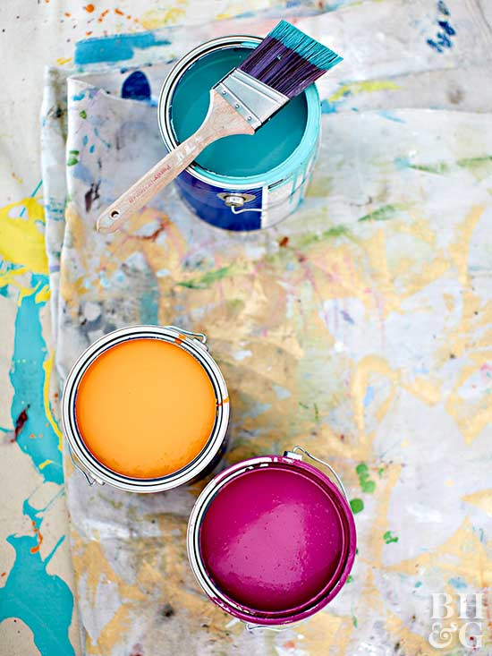open paint cans dropcloth