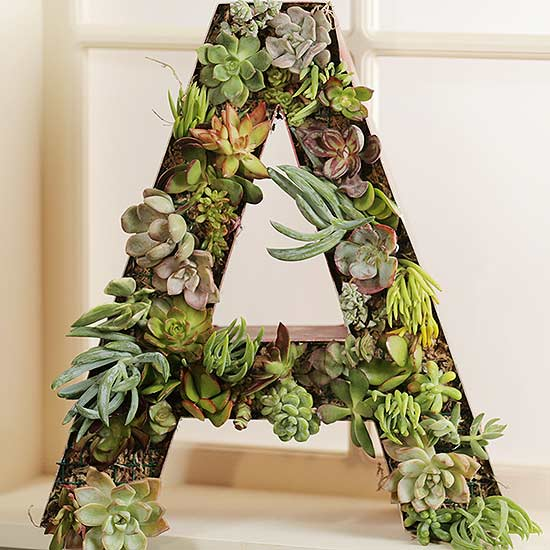 Succulent Monogram Wreath from Old Signage
