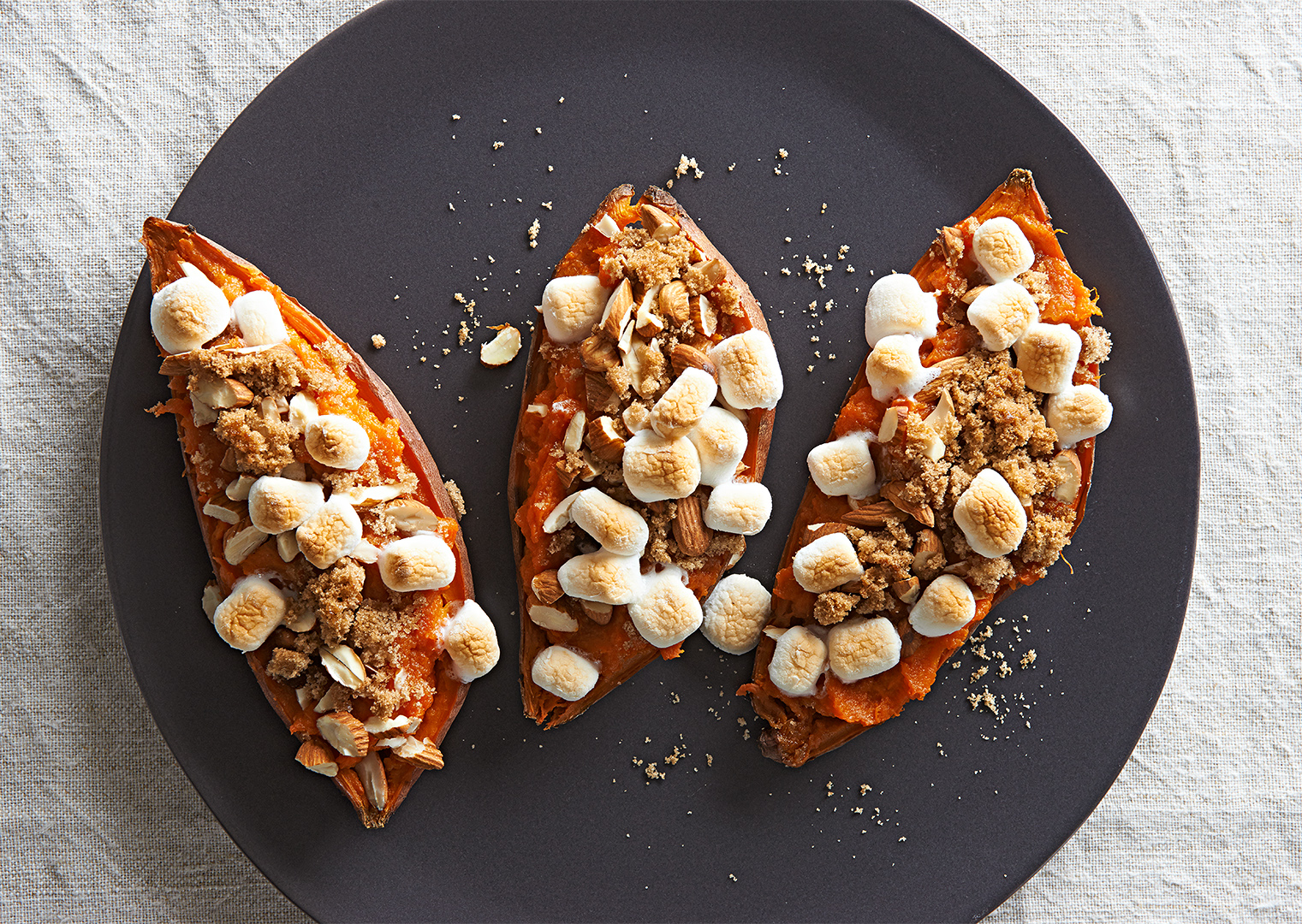 Twice-Baked Candied Sweet Potatoes recipe plate marshmallows