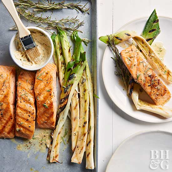 Grilled Salmon & Leeks with Rosemary-Mustard Butter