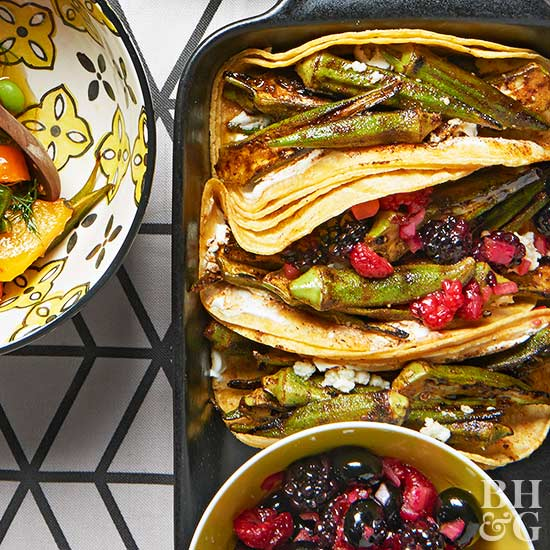 Grilled Okra Tacos, tacos, berries