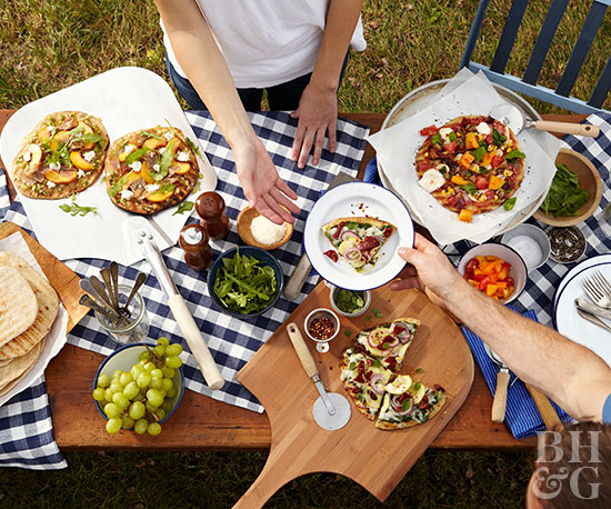 Outdoor picnic table food buffet