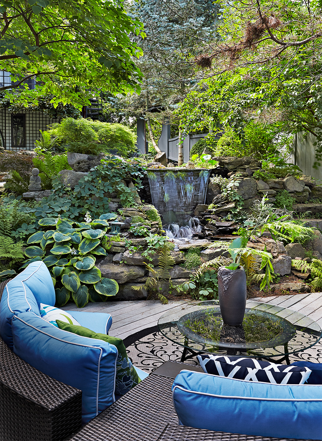 asian-style serenity garden blue seating green landscape