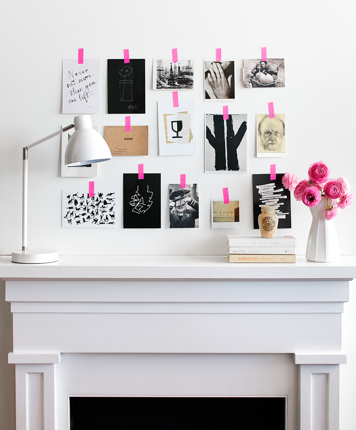 black and white art taped with pink washi tape