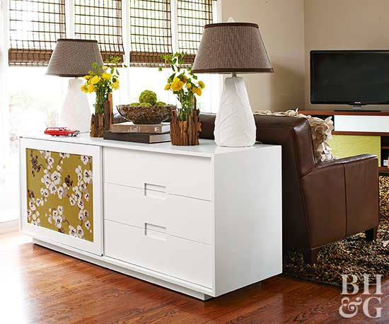 White sideboard with fabric panel insert
