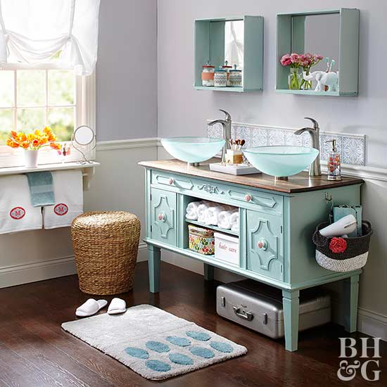 aqua double vanity with vessel sinks