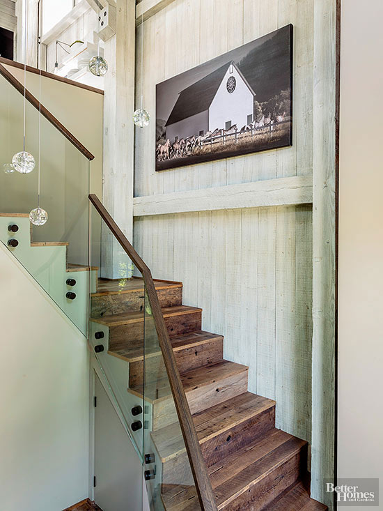 Reclaimed Wood as Stair Treads