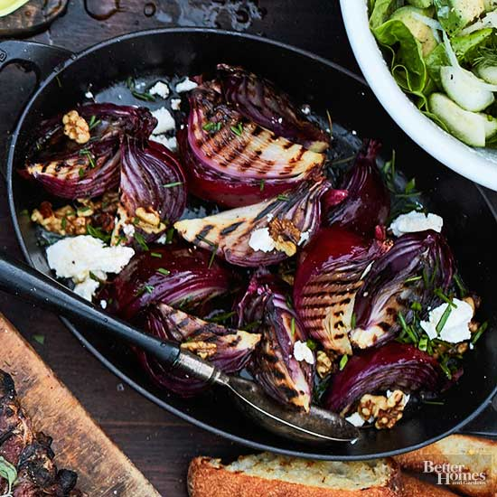 Grilled Red Onions with Crumbled Feta