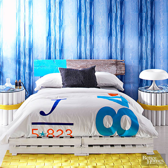 blue and yellow room