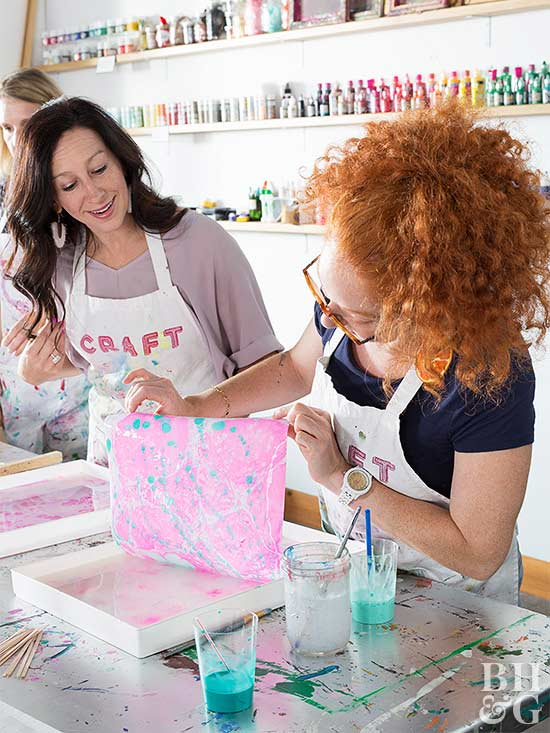paper marbling party women print