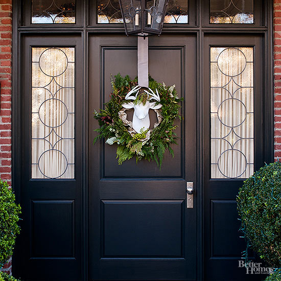 front door with wreath