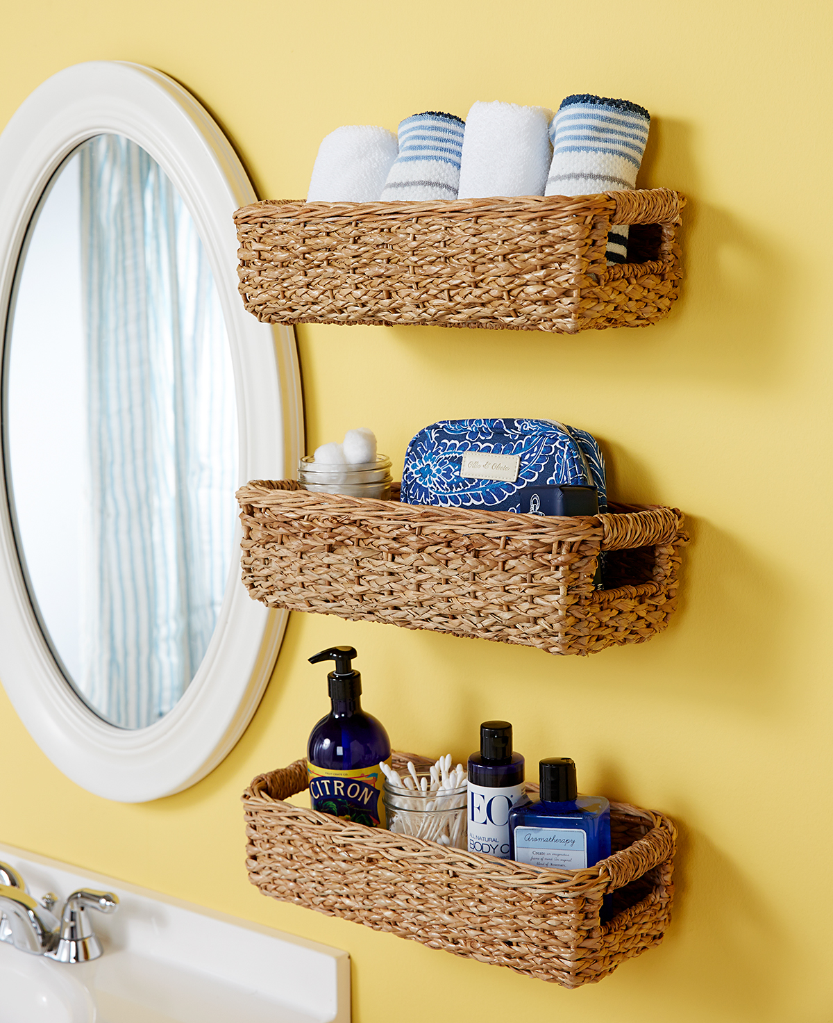 baskets used on wall for bathroom storage