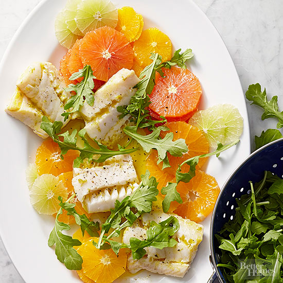 Citrus Salad with Poached Cod