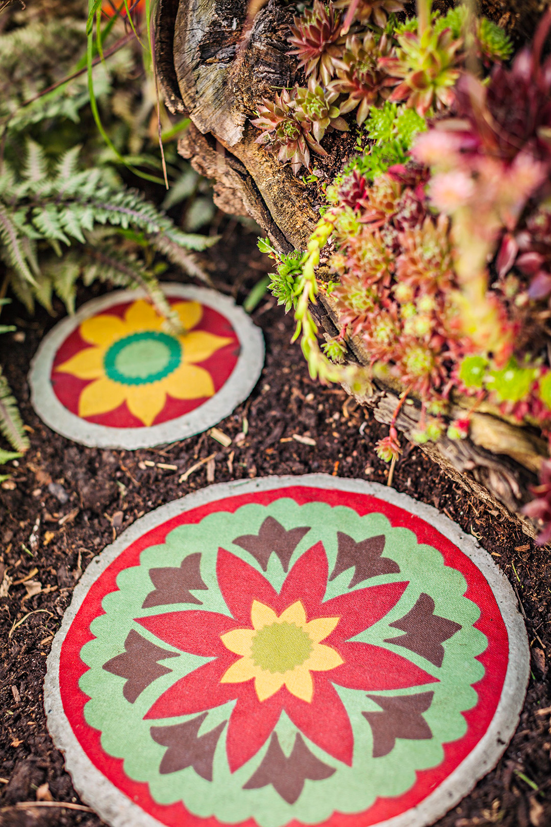 painted cement stepping stones