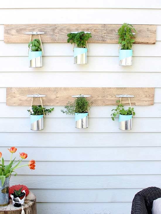 Hanging Paint Can Herb Garden
