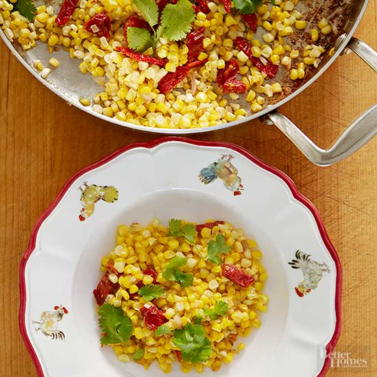 Corn and Shallots with Sun-Dried Tomatoes
