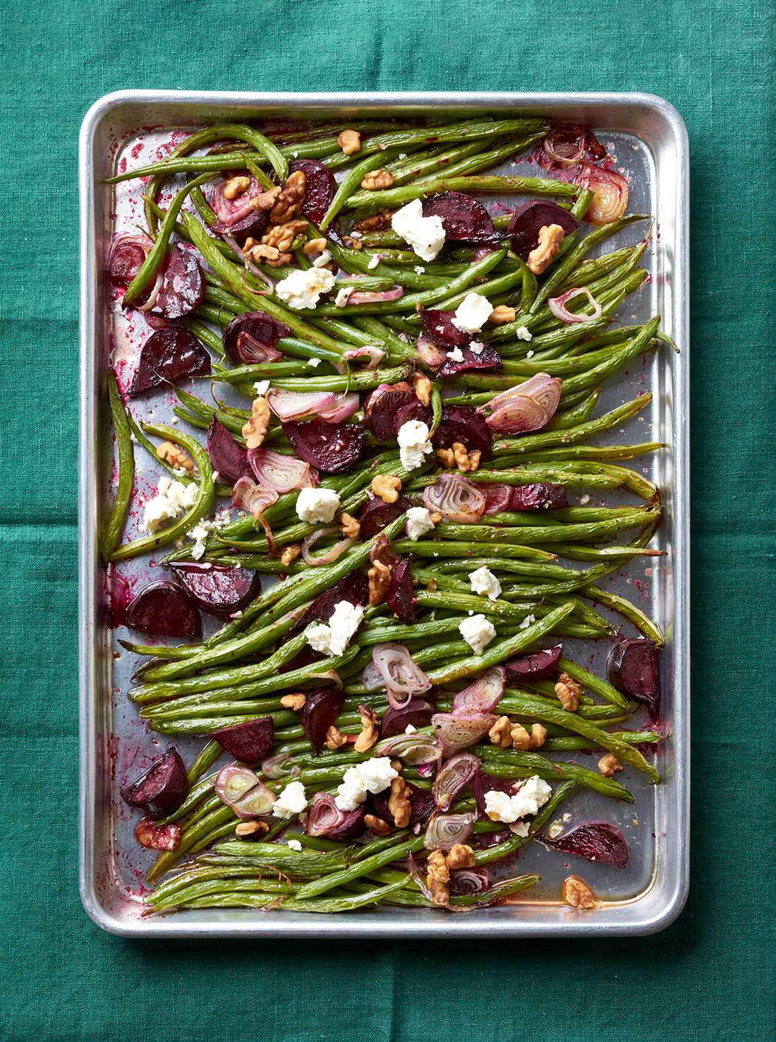 roasted green beans feta walnuts on pan
