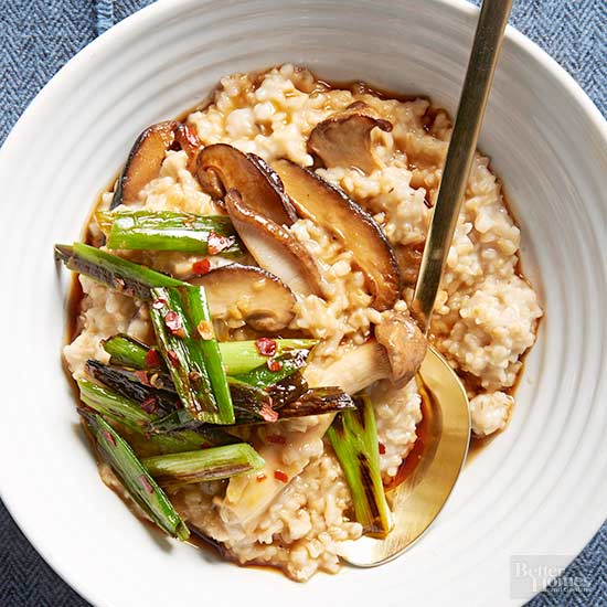 Ginger-Sesame Oats with Mushrooms and Charred Green Onions