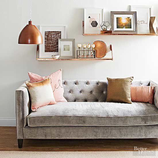 Living Room With Copper Accents