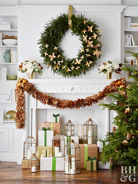 garland, wreath, and holiday gifts