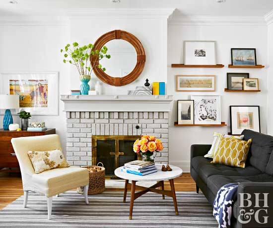 cozy living room with white walls