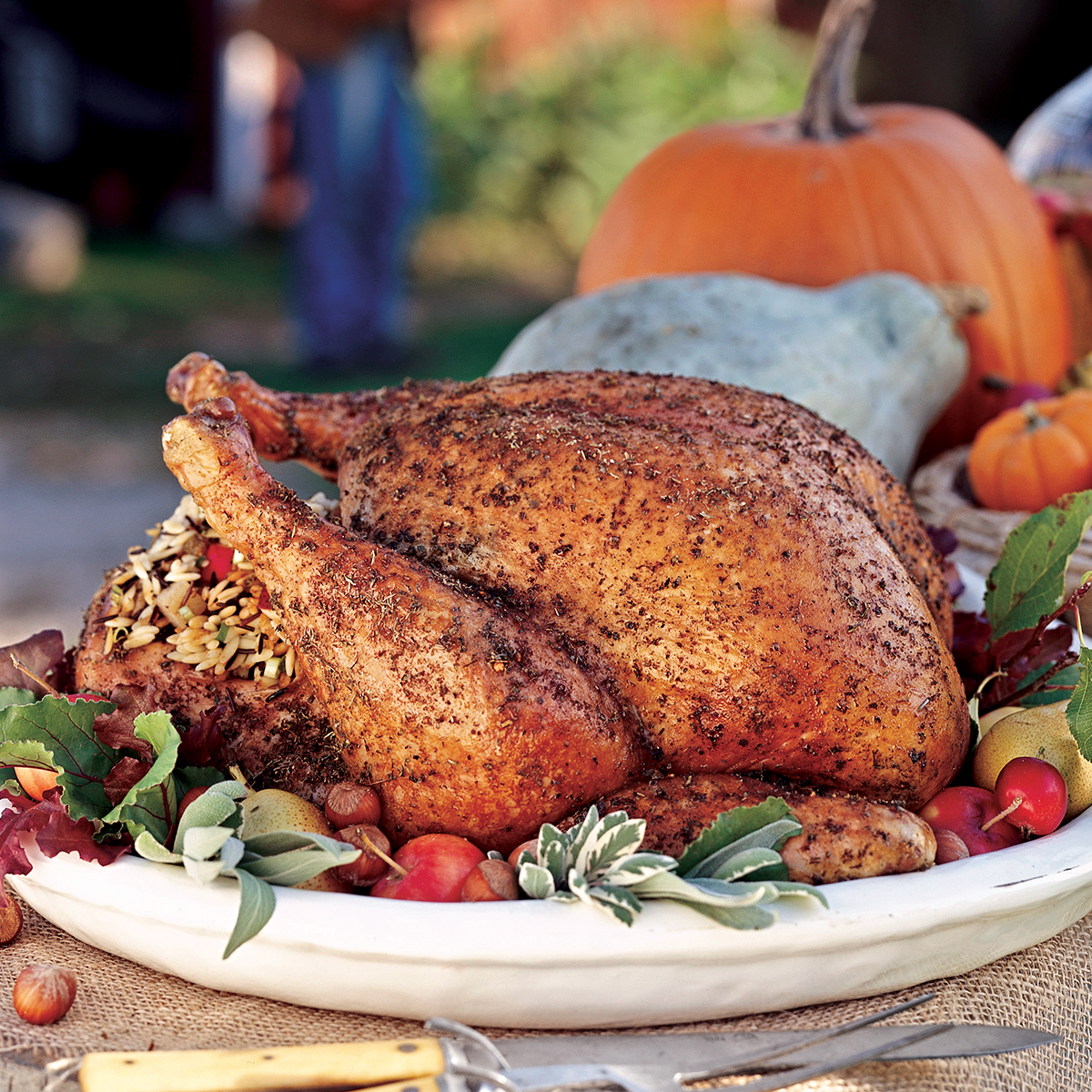Herb-Rubbed Turkey with Pear Stuffing