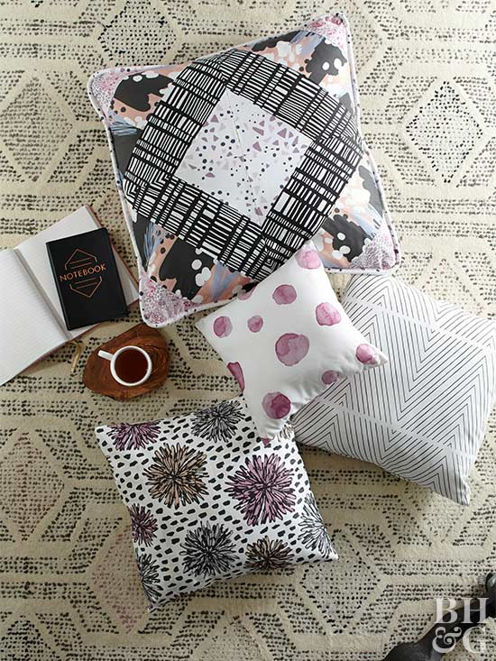 Sewn Pillows with Patterns