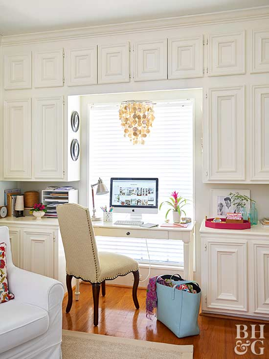 Beautiful Chandeliers, home office area, built-in-cabinets