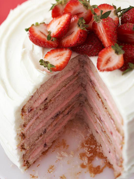 Six Layer Strawberry Cake