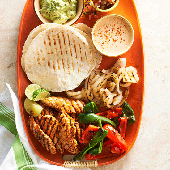 Grilled Chicken-Finger Fajitas with Peppers and Onions