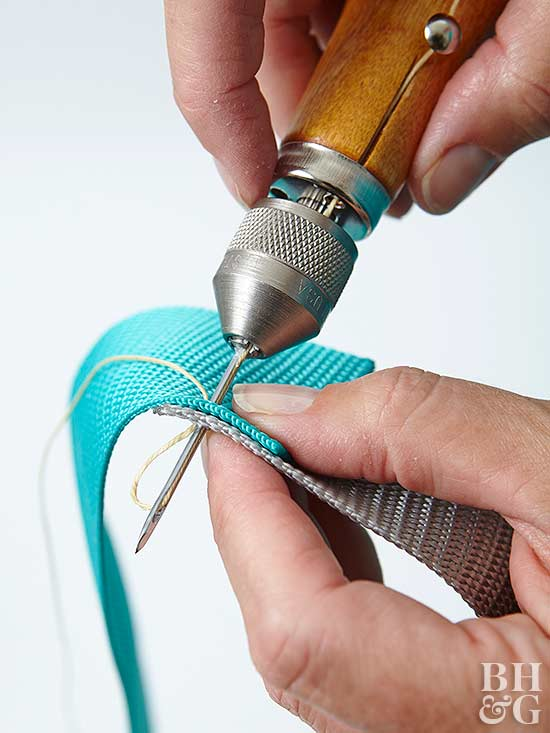 stitching polyester webbing together