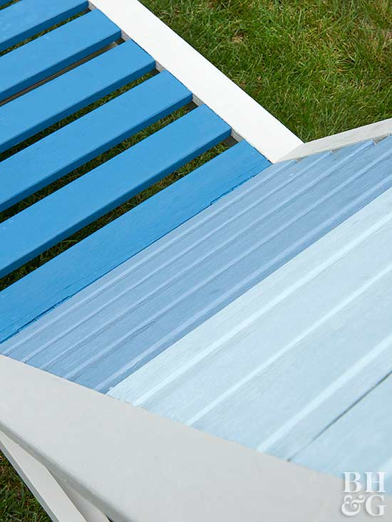 blue refinished patio chaise lounge