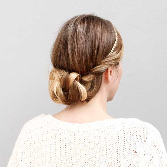 twisted knotted headband updo