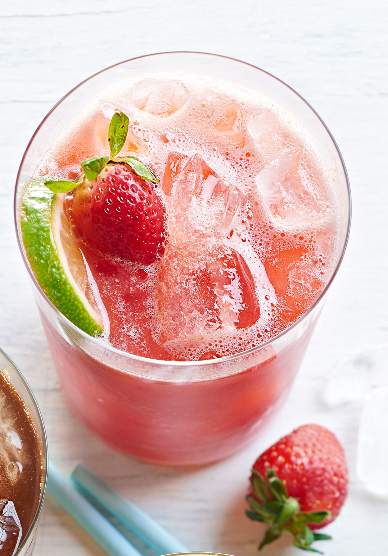 Watermelon-Berry Limeade in clear glass