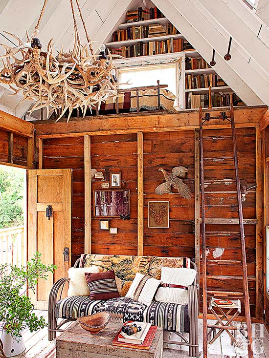 southwestern decor Cabin library