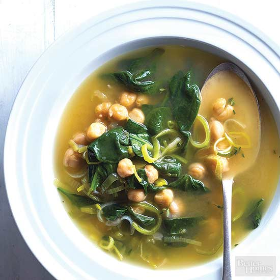 Chickpea, Leek, and Spinach Soup