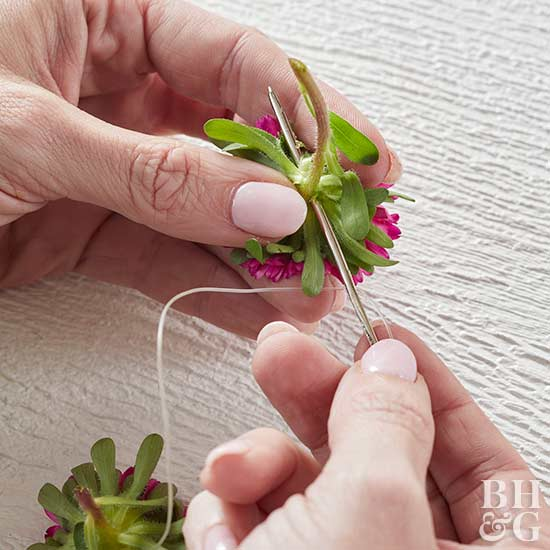 attaching bloom to floral craft