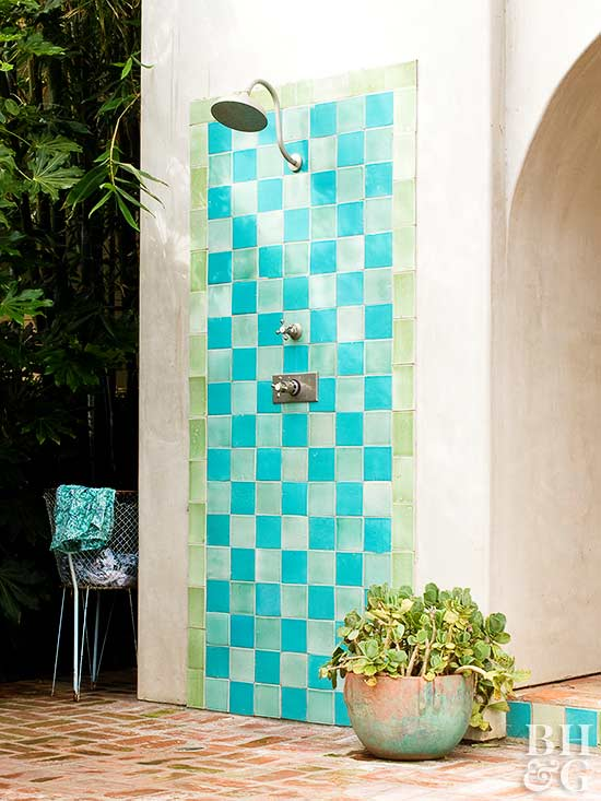 turquoise and green tile outdoor shower