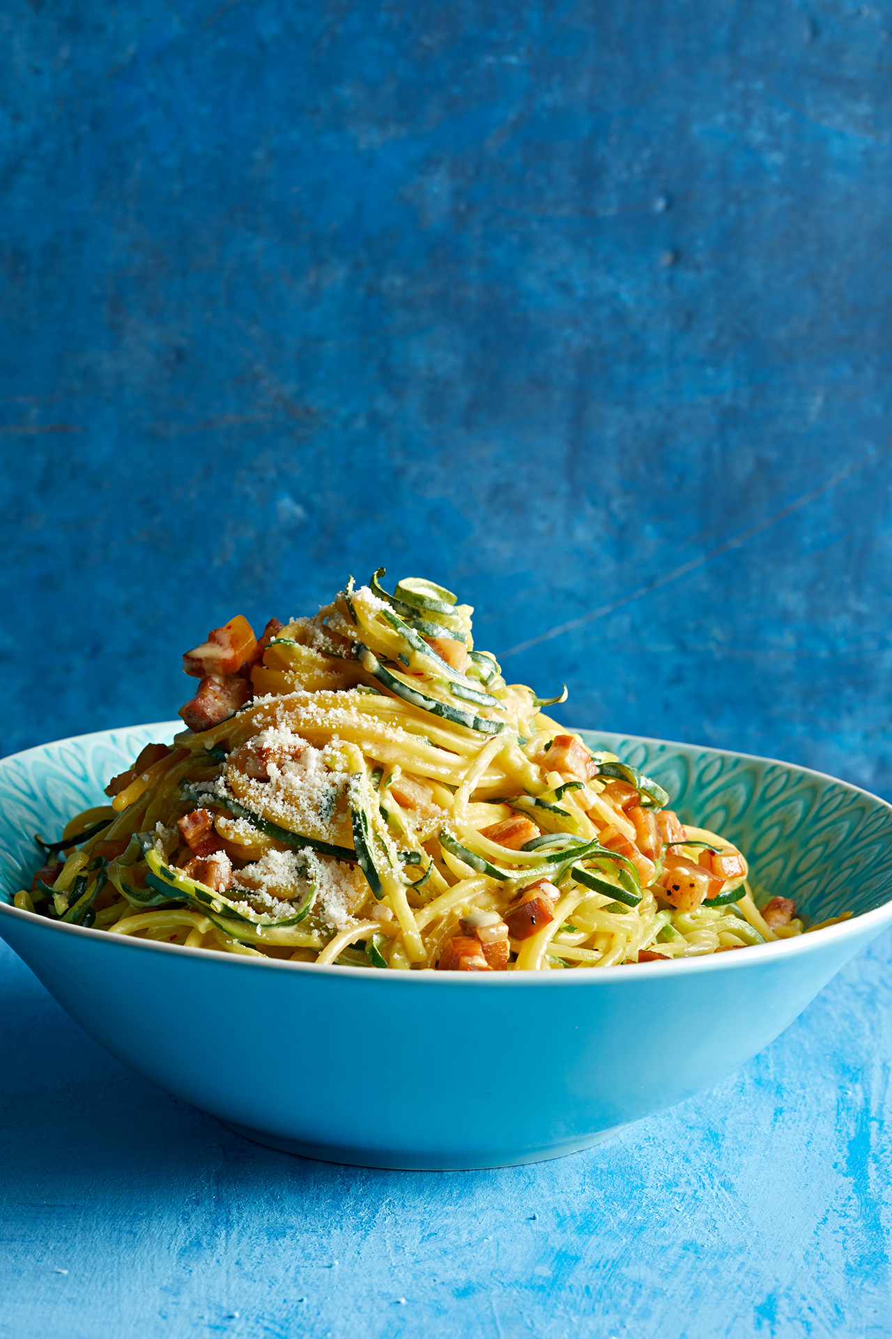 """Noodles and """"Zoodles"""" with Saffron And Cream"""