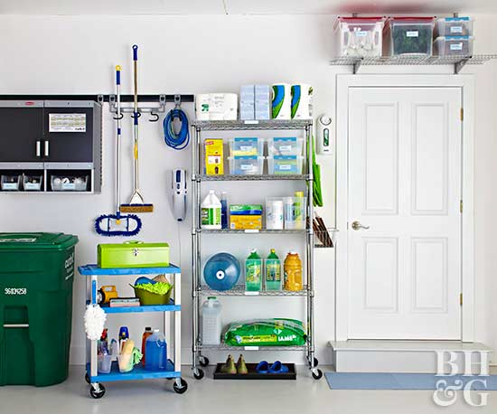 Storage-smart garage with shelving