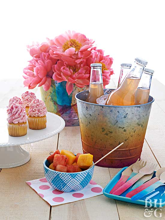spray-painted picnic setting