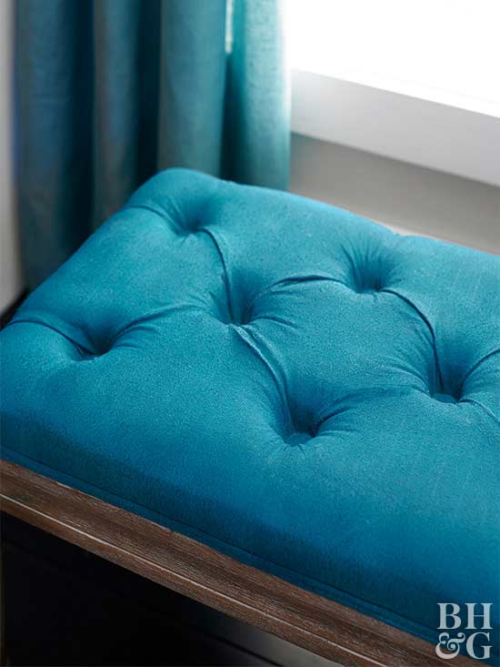 Blue upholstery and curtains