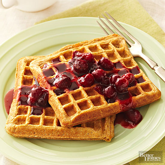 Sweet Potato Waffles with Cranberry Syrup
