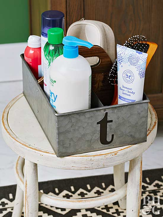 monogrammed tin for shower supplies